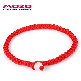 Wholesale Red Lucky Hand String - Wholesale-New Arrival Fashion Unisex Jewelry Simple Style Classic Lucky Red String Braided Rope Men Women Hand Strap Charm Bracelet MHS001