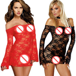 Wholesale Nightgown Transparent - Plus Size Large yards long sleeved dress Perspective Nightwear Underwear Jacquard Lace Transparent Sleepwear Sexy Lingerie