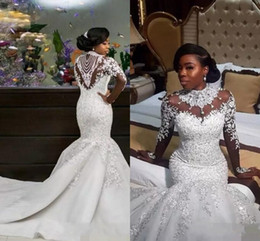 Wholesale Elastic Beads - 2017 New Luxury African Mermaid Wedding Dresses Long Sleeves High Neck Illusion Lace Appliques Crystal Beading Sheer Custom Bridal Gowns
