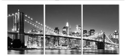 Wholesale Three Pieces Paintings - 3 Piece Free Shipping Hot Sell Modern wall Painting New York Brooklyn bridge Home Decorative Art Picture Paint on Canvas Prints