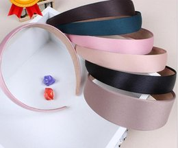Wholesale Wholesales Accessories For Ladies - 50pcs Colored Satin Covered Resin ribbon winding hair band Kids hair Accessories width :2.5cm Basic head band for woman girl Lady FJ3125