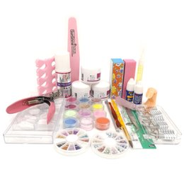 Wholesale Pink Clear Acrylic Nails - Tools Sets Kits 2017 New Acrylic Nail Kit Clear Pink White Acrylic Powder Liquid Brush Nail Kit Glitter Clipper File Glue