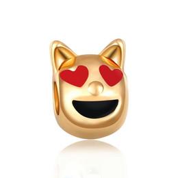 Charmes de chat avec or noir émail rouge nouvelles perles originales bricolage gros perles en or mignon pour bracelets ? partir de fabricateur
