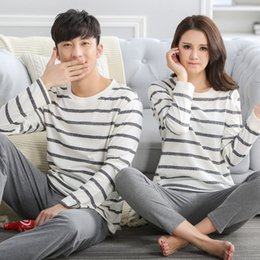 Wholesale Lovers Sleep - Wholesale- 100% cotton ! Stripe Couple Autumn Sleep Lounge Pant+Tops 2 Piece Pijamas Couples Womens Men Pyjama Sets Lovers Sleep Wear J0004