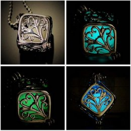 Wholesale Wedding Wishing Tree Wholesale - Best gift Luminous cube hollow can open wishing tree necklace pendant WFN123 (with chain) mix order 20 pieces a lot