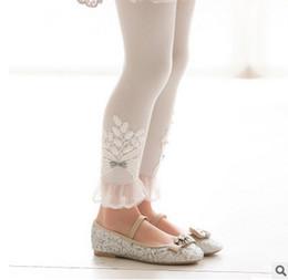 Wholesale Beige Lace Leggings - Kids leggings girls floral embroidery pants children bows Beaded lace falbala tights 2017 autumn new girls princess pants kids bottoms T4371