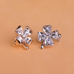 Wholesale Clover Brooch Pin - Wholesale- Fine Crystal Clover Brooch Pins For Girls Collar Suit Clips Gold-color Metal Corsage Small Size Jewelry Clothes Accessories