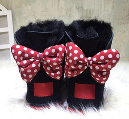 Wholesale Boys Leather Shorts - 2017 CLASSIC DESIGN SHORT BABY BOY GIRL WOMEN KIDS BOW-TIE SNOW BOOTS FUR INTEGRATED KEEP WARM BOOTS EUR SZIE 25-41