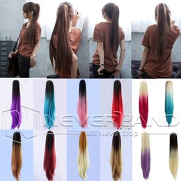 """Wholesale Two Ponytails Straight Hair - Wholesale-Sexy Party Multicolor 20"""" Long Straight Synthetic Hair Extensions Two Tone Ombre Claw Clip In On Ponytails Hair Tail B40"""