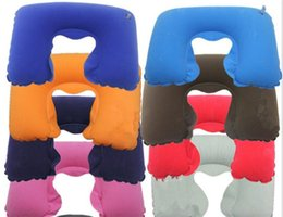 Wholesale Travel Pillow Eye Mask Set - 20set 3 in1 Travel Office Set Inflatable U Shaped Neck Pillow Air Cushion + Sleeping Eye Mask Eyeshade + Earplugs G009