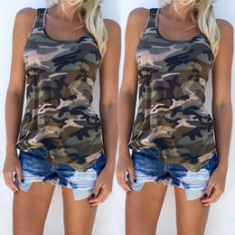 Wholesale Camouflage Tops Women - Women Casual Camo Army Sundress 2017 Fashion Camouflage Print Tank Tops Summer Sleeveless Scoop Neck Slim T-shirt Sexy Vest S-5XL