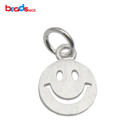 Wholesale Sterling Silver Crafting Wholesale - Beadsnice 925 silver pendant smile face DIY jewelry finding smiley symbol smile round tags craft supplies ID 35626