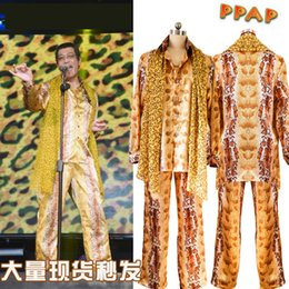 Wholesale Dance Pants For Kids - PPAP Dancing Performance Costumes Yellow Top Fashion PPAP Piko Same Design Cosplay Costumes Blouse Pants Scarf For Kids Adult
