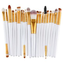 Wholesale Black Eyeshadow Makeup - 20pcs Eye Makeup Brushes Set Eyeshadow Blending Brush Powder Foundation Eyeshadading Eyebrow Lip Eyeliner Brush Cosmetic Beauty Tool