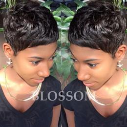 Yeni Satış 130% yoğunluk yok tam dantel peruk Tutkalsız Brezilyalı bakire Siyah Kadınlar Için Insan Doğal Saç Kısa Peruk nereden
