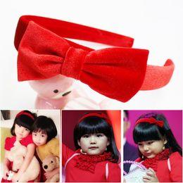 Wholesale Kids Red Hair Ribbon - 20 Pcs lot Plain Satin Ribbon Bow Hairband With Knot For Kids Girls Handmade Hard Velvet Headband Hair Accessories Headwear