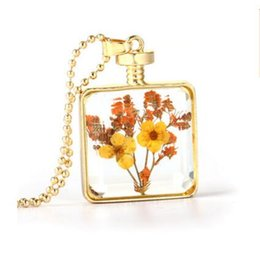 Wholesale Transparent Bottle Necklace - Creative natural flower bottle necklace pendants transparent drift perfume bottle plant pendant Necklace Women Jewelry fashion Accessories