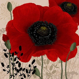 Wholesale Red Floral Wall Art - Framed Linda Wood: Red Poppy I,Pure Hand Painted floral Wall Art Home Deco Oil Painting On Canvas.Multi sizes Free Shipping Fl011
