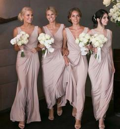 Wholesale High Quality Chiffon Fabric - Nice Taffeta Women High Quality Fabric Long Ankle Length Bridesmaid dresses Sleeveless Ruffles V neck Mother Formal Wedding Guest Dress