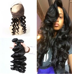 Wholesale Hair Band Extensions - Peruvian Loose Wave Human Hair Weaves With 360 Lace Frontal Pre Plucked Loose Wave 360 band Lace Closure With 3 Bundles Extensions