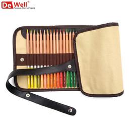 Wholesale Colours School Bag - Wholesale-Handmade 36 Holes Portable School Pencils Case Canva Colored Pencil Roll up Bag For Colouring Student Papelaria Art Supplies