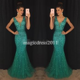 Wholesale Graceful Mermaid Party - 2017 Graceful Green Prom Evening Dresses Mermaid Deep V-Neck Major Beaded Long Celebrity Formal Gowns Dress for Party Wear Custom Made