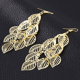 Wholesale Wholesale Clothing South Korea - Fashion new electroplating Korea style leaves joker earrings eardrop wholesale clothing accessories earrings factory price free shipping