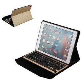 "Suporte para ar on-line-Bluetooth 3.0 sem fio de alumínio teclado de couro case capa suporte suporte para ipad pro 9.7 ""air 2 ipad 5 6 protetora para tablet pc"