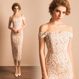 Wholesale Ankle Length Dresses Size 14 - Mermaid Short Sexy Ankle Length Elegant Lace Champagne Cocktail Dresses Real Pictures New Arrival Party Gowns