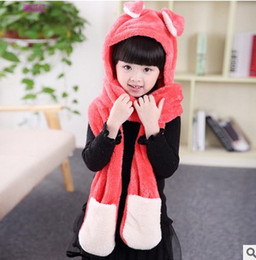 Wholesale Children Scarf Gloves - Cartoon Baby Girls Plush Animal Full Hood Scarf Kids Ear Hat Children Costume Beanie With Long Scarf Kids Mittens Gloves 7542