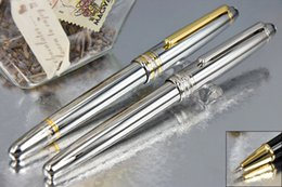 Wholesale Executive Ball Pen - MB-163 Meisterstuck High Quality Best Design Pure Silver Executive Silver Golden Clip Roller Ball Pen+1 Additional Refills + 1 Velvet Pouch
