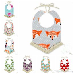 Wholesale Triangle Scarf Tassels - Baby Bibs INS Tassel Floral Fox Burp Cloths Infant Toddler Cotton Cartoon Bandana Baby Animal Printed Saliva Towels Triangle Head Scarf J429