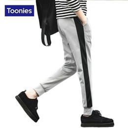 Wholesale Wholesale Mens Cotton Pants - Wholesale-Sweat Harem Pants for Men Striped Mens Pants 2016 Autumn Winter Men's Sportswear Casual Cotton Fashion Trousers Brand Clothing