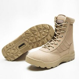 Wholesale Boots Tactical Khaki - Tactical Boots Genuine Leather Climbing Boot Military Desert SWAT American Combat Boots Outdoor Waterproof Shoes Plus Size Martin Boots