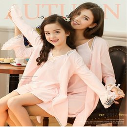 Wholesale Cute Pajamas Dress - Cute Hello Kitty New Summer Pink Sleepwear Matching Outfits New Kids Pajamas Clothing Casual Mother Daughter Dresses Clothes Mommy and Me