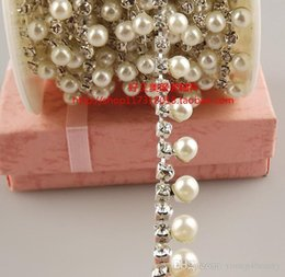 Wholesale Crystal Costume Decoration - free shipment 1 yards 1cm ABS pearl clear crystal rhinestone chain trims aplique sofa artcraft house costume sewing decoration.