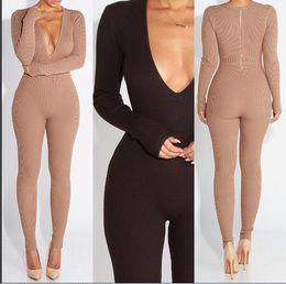 Wholesale Women S Fashion Bodysuits Wholesale - Wholesale- 2016 Women New Fashion Sexy Skinny Jumpsuits Ladies Party Bodycon Bandage bodysuits Winter Style Club Vestidos Rompers W Slashes