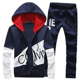 Wholesale Kids Fashion Long Sleeve - Wholesale-Spring Autumn Casual Hoodies Mens Tracksuit Set Designer Slim Leisure Suit Men Youths Kids Sets Moleton Masculino (Asian Size)