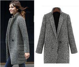 Wholesale Thick Wool Winter Jackets - 2017 Women Coats Casual Winter Lapel Neck Thickening Long Sleeve Cotton Jacket Button Women Outwear Plus Size 070216-20