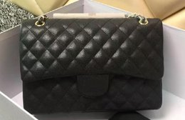 Wholesale Double Lock - High Quality classic women's Handbag Double Flap Bag Caviar Leather Fashion Shoulder Bags Real Lambskin 1113 Large Quilted Chain Bag