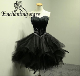 Wholesale Red Feather Corset - Sexy Little Black Cocktail Dresses With Feathers Crystals Beads 2017 Fashion Real Photos Mini Short Party Dress Corset Back Homecoming Gowns