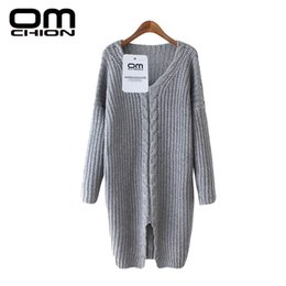 Wholesale Knitted Sweater Dress For Women - Wholesale-2016 Womens Sweater For Winter Autumn Long Sleeve V-Neck Long Knit Sweater Dress Female Split Sexy Casual Pullover LMY59