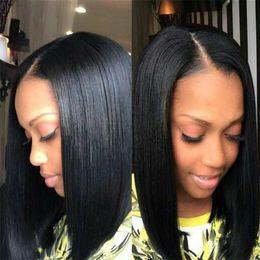 Wholesale Long Bob Wigs Bangs - Bob Wig Silky Straight Short Human Hair Wigs with bangs Full Lace Human Hair Wigs For Black Women Lace Front Human Hair Wigs
