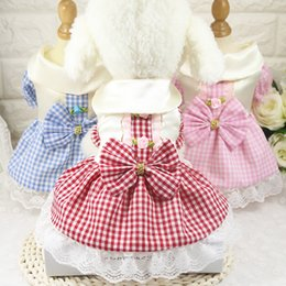 Wholesale Dogs Clothing Dress - 2017 New Pet Dog Clothes Cute Plaid Dog Dresses Pretty Puppy Cat Costume Pink Blue Size XS-XXL Dog Clothing Pet Supplier