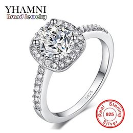 Wholesale ct set - YHAMNI 100% 925 Sterling Silver Jewelry Ring 1 ct CZ Diamond Zircon Wedding Rings For Women Gift XH042