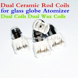 Wholesale Hot Rod Sales - New Hot Sale Dual Wax coil ceramic Rod Coils rebuildable atomizer core for wax Glass globe vaporizer pen herbal vapor replacement e cigs