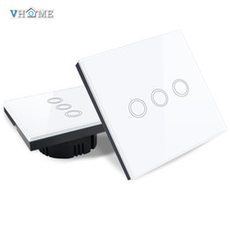 Wholesale glass gang - Wholesale- EU UK Standrad Vhome Remote Controller 3 gang 1 way Crystal Penal Glass Touch Lamp Wall Light 220V Home Automation