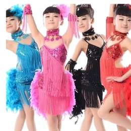 Wholesale Sequin Fringe Dance Dress - sexy feather costumes for dancing skirt samba dress girls long dresses feathers kids fringe feathered child latin dance feathers