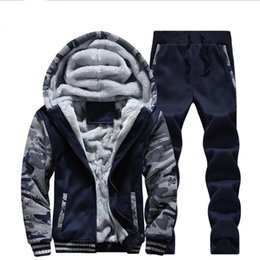 Wholesale Men Short Sleeve Cardigans - Man's Hoodies Pants Suit Clothing Man's Winter Plus Velvet Hoodie Men Print Hooded Jacket Coats Long Sleeve and Long Pants Tracksuits