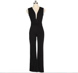 Wholesale Full Jump - Wide Leg Elegant jumpsuits Black V-neck Jumps Embellish Cuffs Long Mesh Sleeves Overalls Women S-XL Sexy Night Club Elegant SlimBodysuit